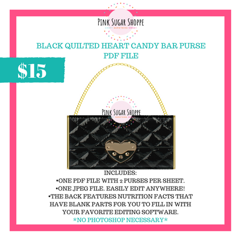 PSS - BLACK QUILTED HEART - PURSE FILE