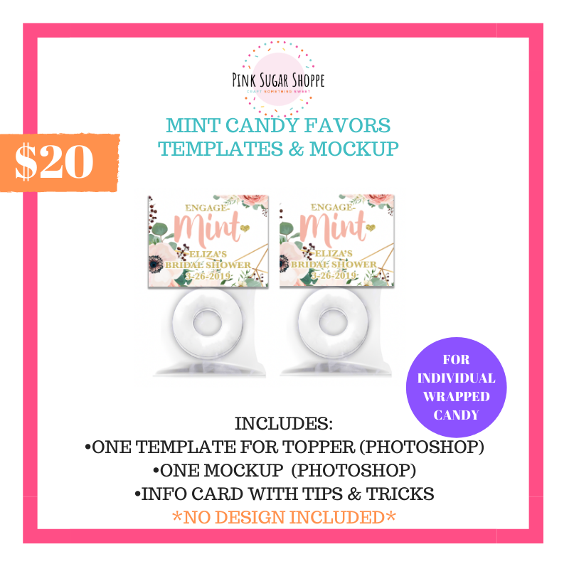 PINK SUGAR SHOPPE MINT CANDY FAVORS TEMPLATE AND MOCKUP
