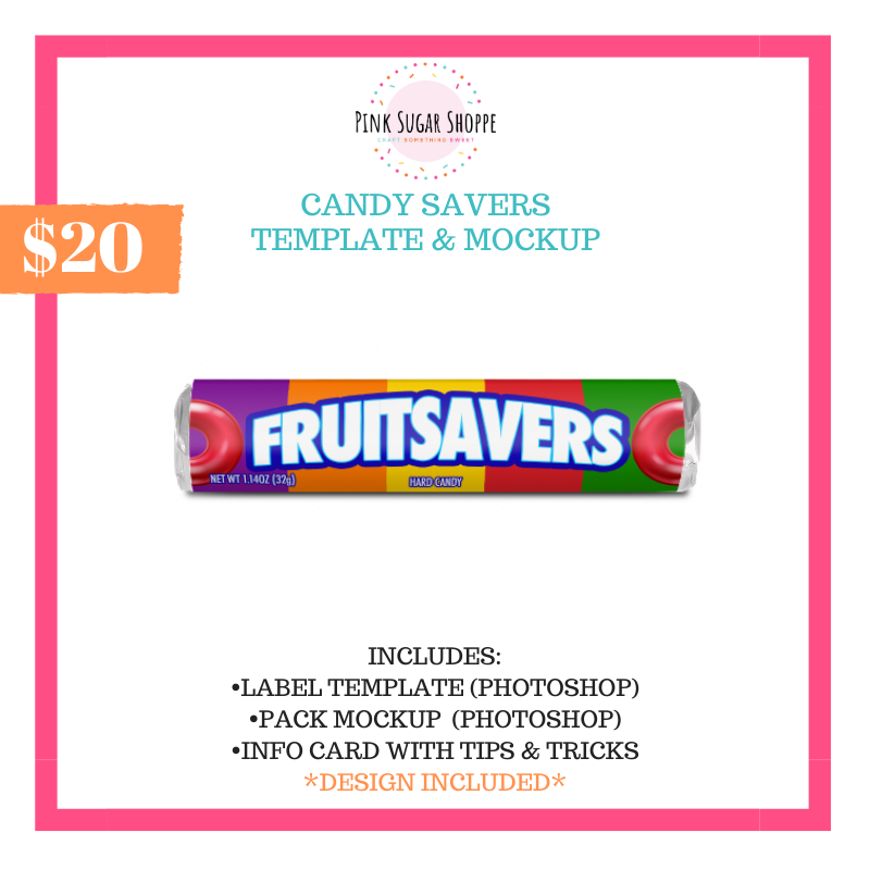 PINK SUGAR SHOPPE FRUIT SAVERS TEMPLATE AND MOCKUP