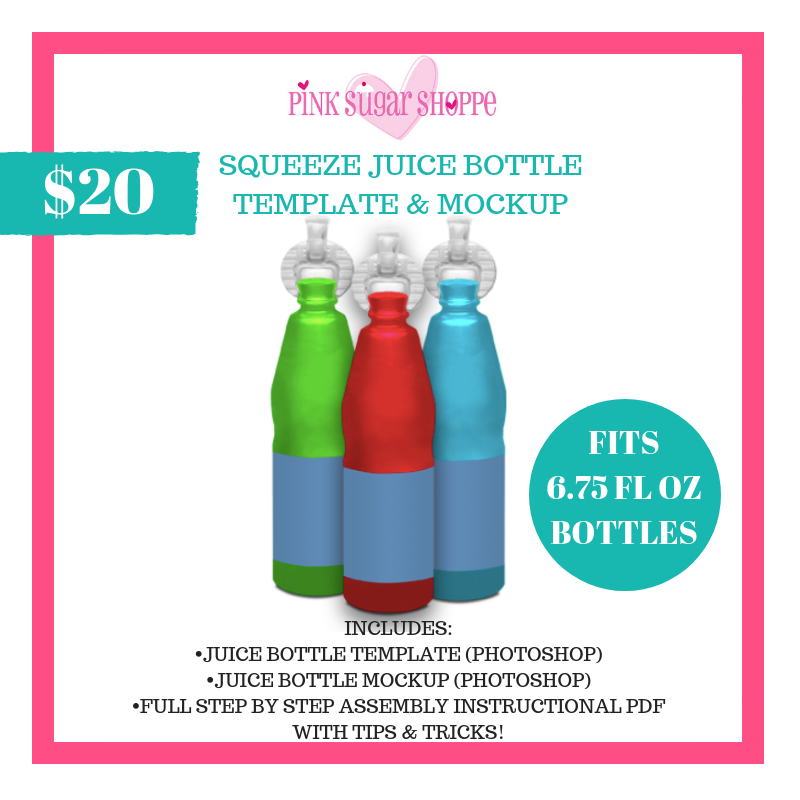 PINK SUGAR SHOPPE SQUEEZE JUICE BOTTLE LABEL TEMPLATE & MOCKUP