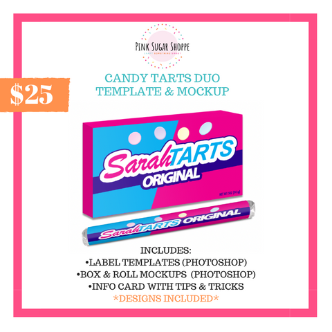 PINK SUGAR SHOPPE CANDY TARTS DUO TEMPLATE AND MOCKUP