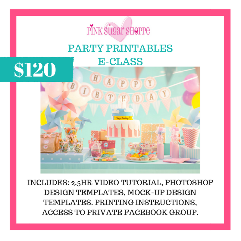 PINK SUGAR SHOPPE PARTY PRINTABLES E-CLASS