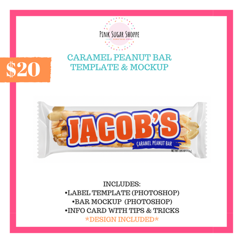 PINK SUGAR SHOPPE CARAMEL PEANUT BAR TEMPLATE AND MOCKUP