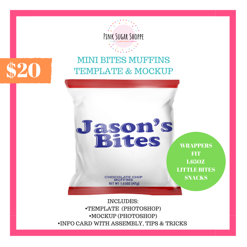 PINK SUGAR SHOPPE MINI BITES MUFFINS TEMPLATE AND MOCKUP