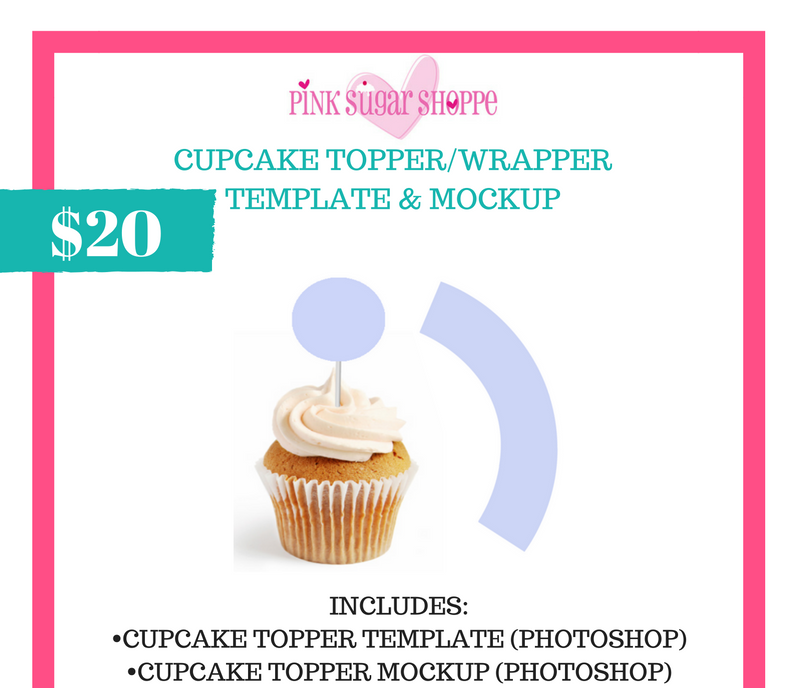 PINK SUGAR SHOPPE CUPCAKE TOPPER/WRAPPER TEMPLATE & MOCKUP