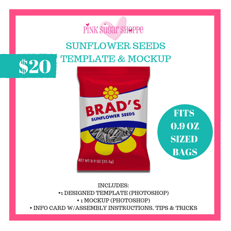 PINK SUGAR SHOPPE SUNFLOWER SEEDS TEMPLATE & MOCKUP