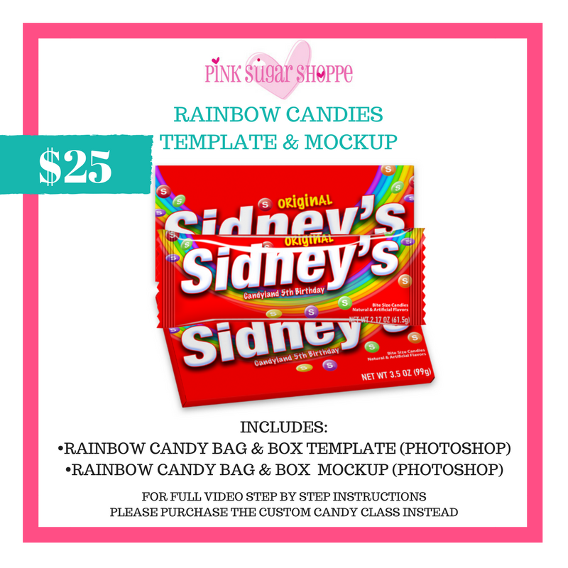 PINK SUGAR SHOPPE RAINBOW CANDIES TEMPLATE & MOCKUP