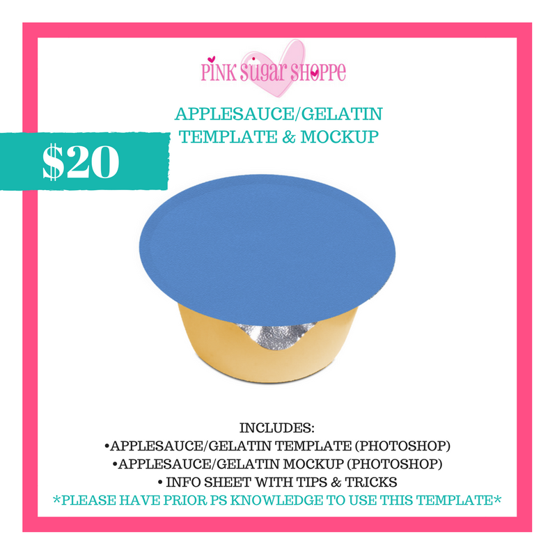 PINK SUGAR SHOPPE APPLESAUCE/GELATIN TEMPLATE AND MOCKUP