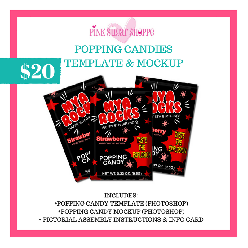 PINK SUGAR SHOPPE POPPING CANDIES TEMPLATE AND MOCKUP