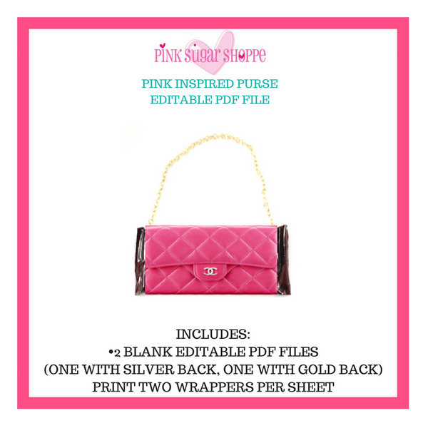PINK SUGAR SHOPPE PURSE TEMPLATE PINK - READY TO EDIT AND PRINT