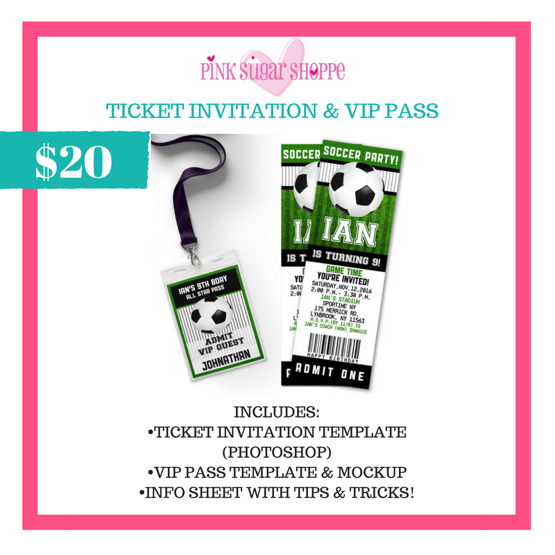 PINK SUGAR SHOPPE TICKET INVITATION/VIP PASS TEMPLATE AND MOCKUP