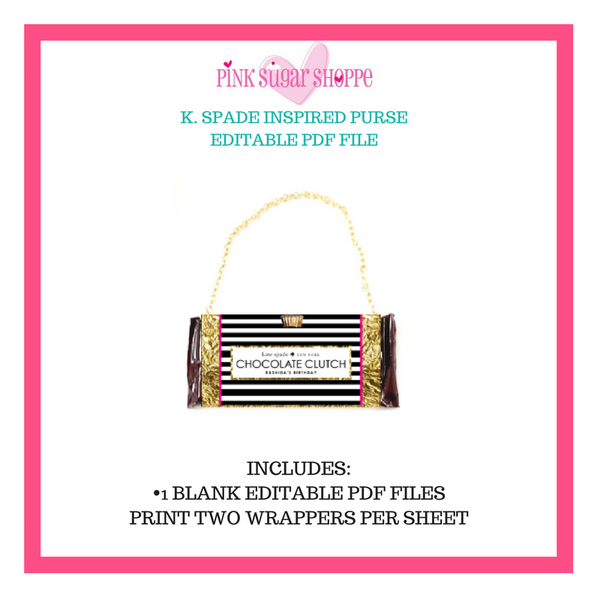 PINK SUGAR SHOPPE PURSE TEMPLATE K SPADE INSPIRED - READY TO EDIT AND PRINT