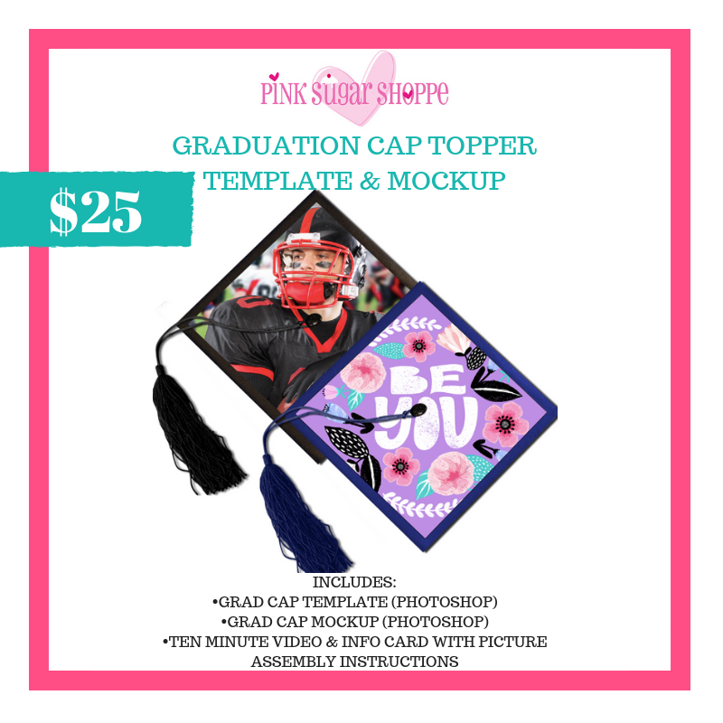 PINK SUGAR SHOPPE GRADUATION CAP TOPPER