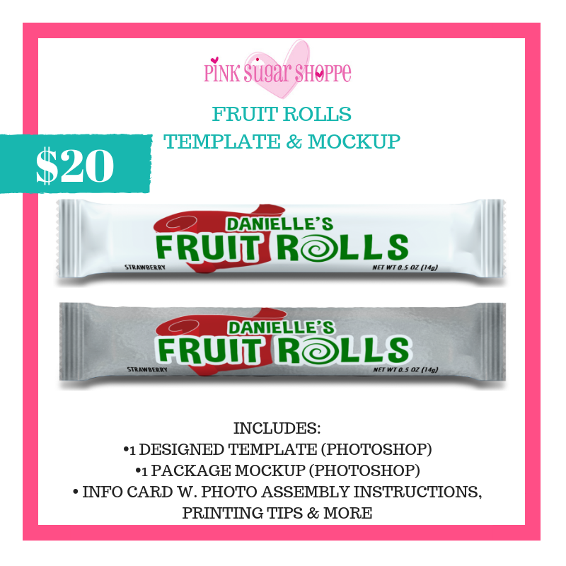 PINK SUGAR SHOPPE FRUIT ROLLS TEMPLATE & MOCKUP