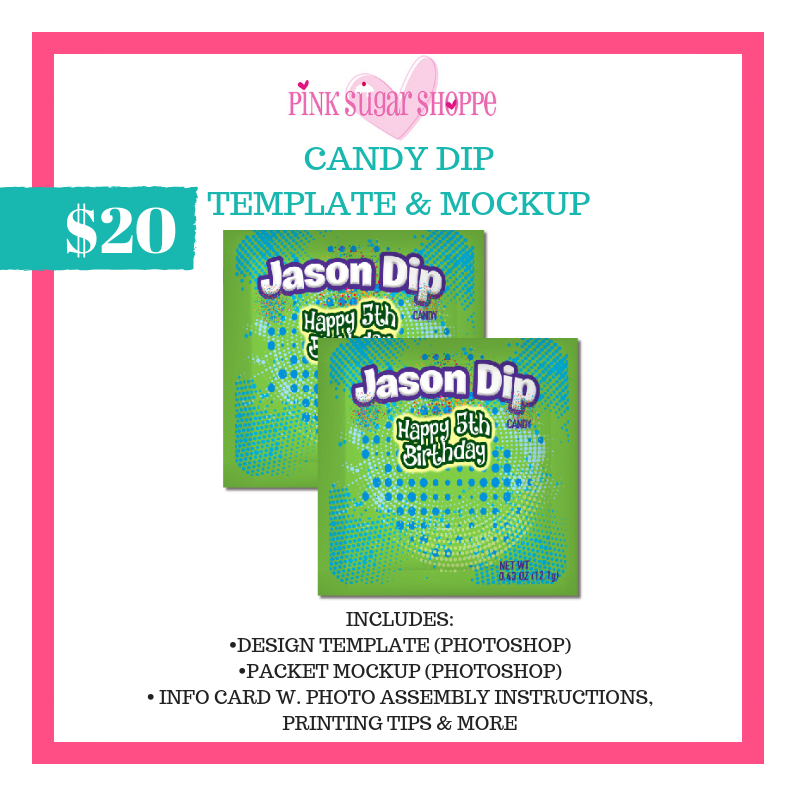 PINK SUGAR SHOPPE CANDY DIP TEMPLATE & MOCKUP