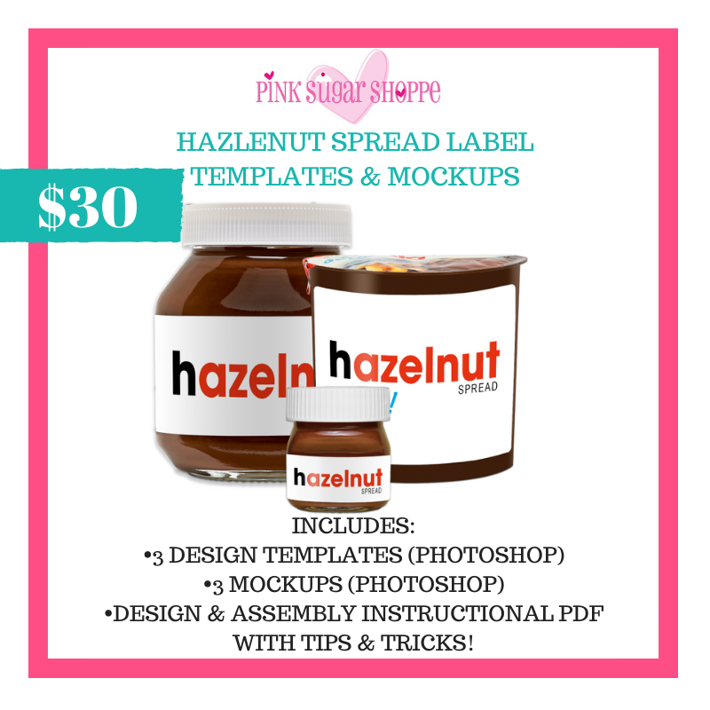 PINK SUGAR SHOPPE HAZELNUT SPREAD LABELS TEMPLATE AND MOCKUP