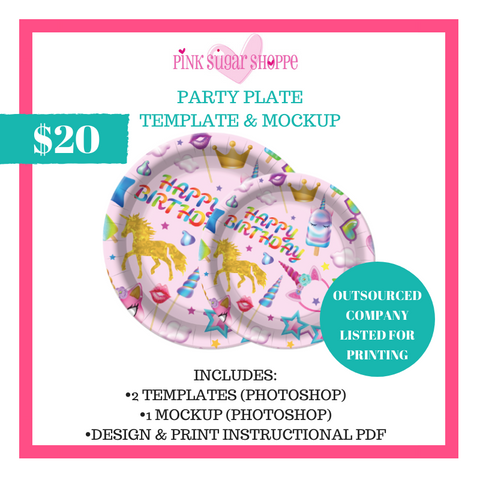 PINK SUGAR SHOPPE PARTY PLATES