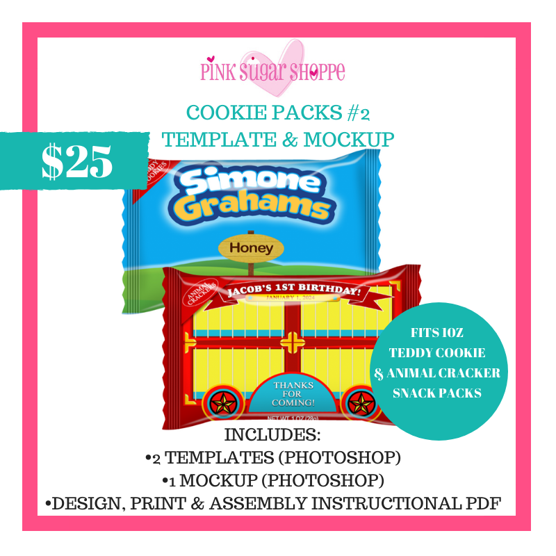 PINK SUGAR SHOPPE COOKIE SNACK PACKS 2 TEMPLATES AND MOCKUP