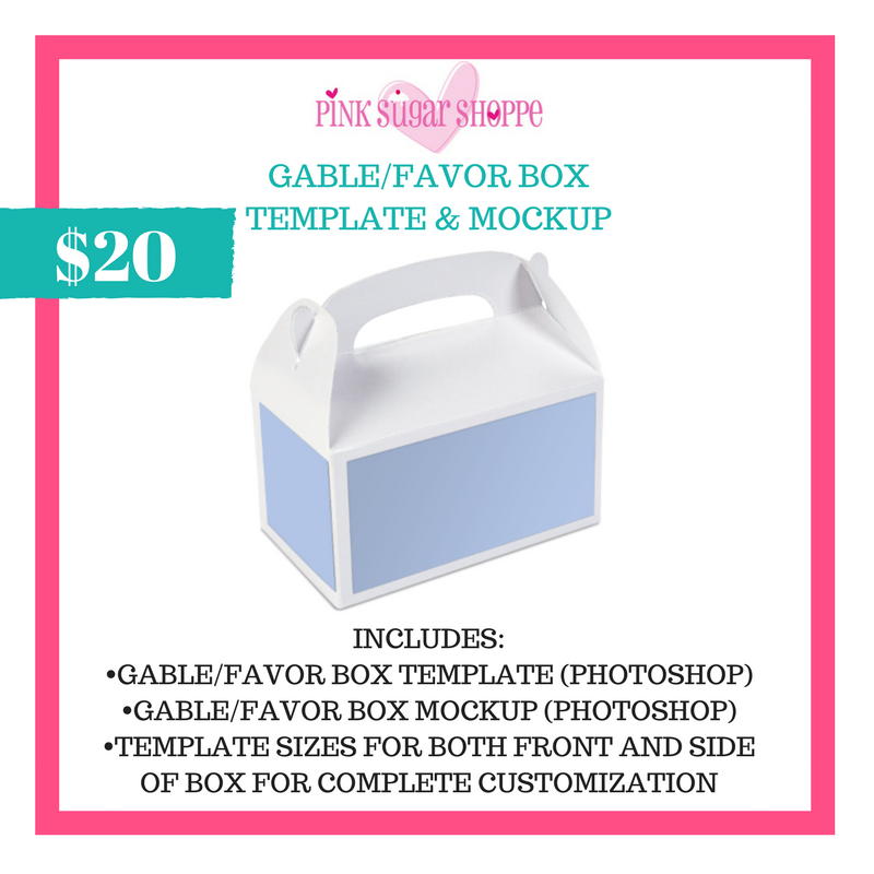 PINK SUGAR SHOPPE GABLE/FAVOR BOX LABEL TEMPLATE AND MOCKUP