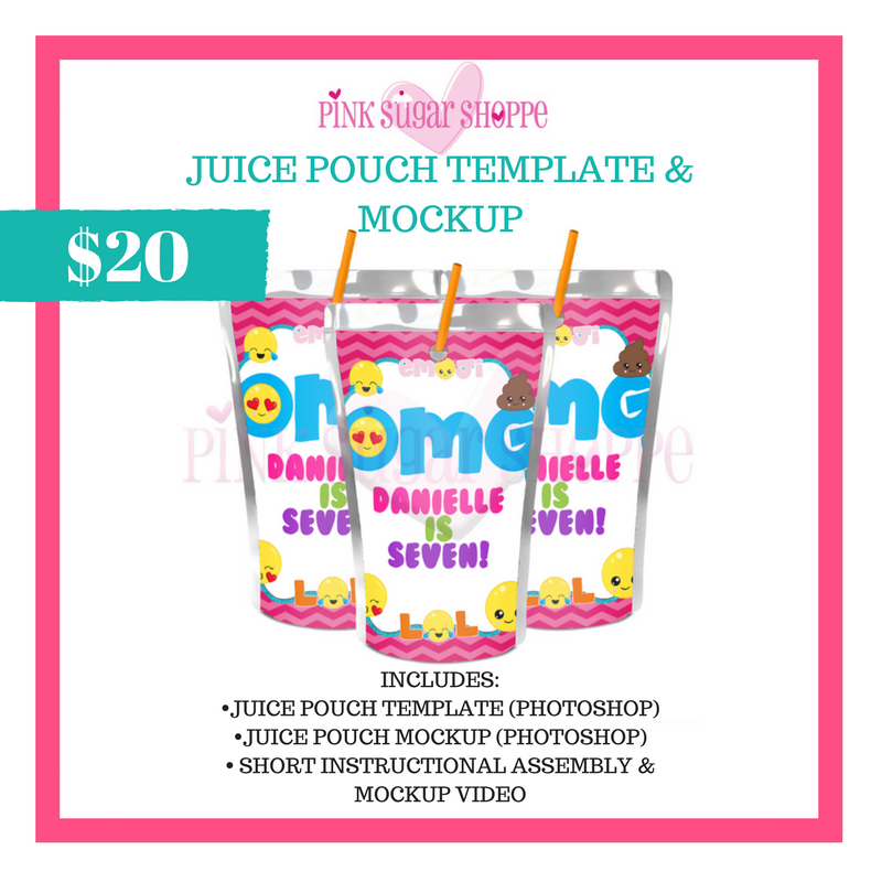 PINK SUGAR SHOPPE JUICE POUCH LABEL TEMPLATE AND MOCKUP