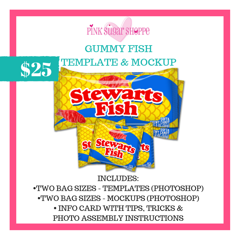 PINK SUGAR SHOPPE GUMMY FISH TEMPLATE & MOCKUP