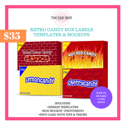 PINK SUGAR SHOPPE RETRO CANDY BOX LABELS TEMPLATE AND MOCKUP