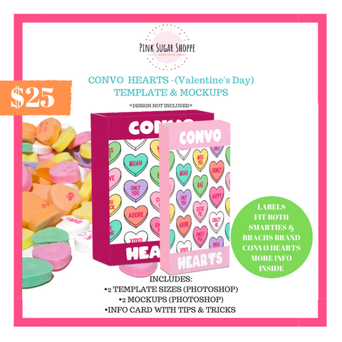 PINK SUGAR SHOPPE CONVO HEARTS LABEL TEMPLATE AND MOCKUP