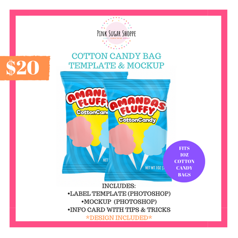 PINK SUGAR SHOPPE COTTON CANDY BAG TEMPLATE AND MOCKUP