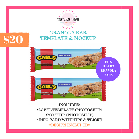 PINK SUGAR SHOPPE GRANOLA BAR TEMPLATE AND MOCKUP