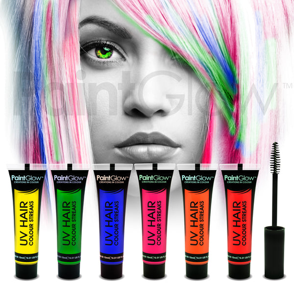 UV Hair Colour Streaks (6 Pack)