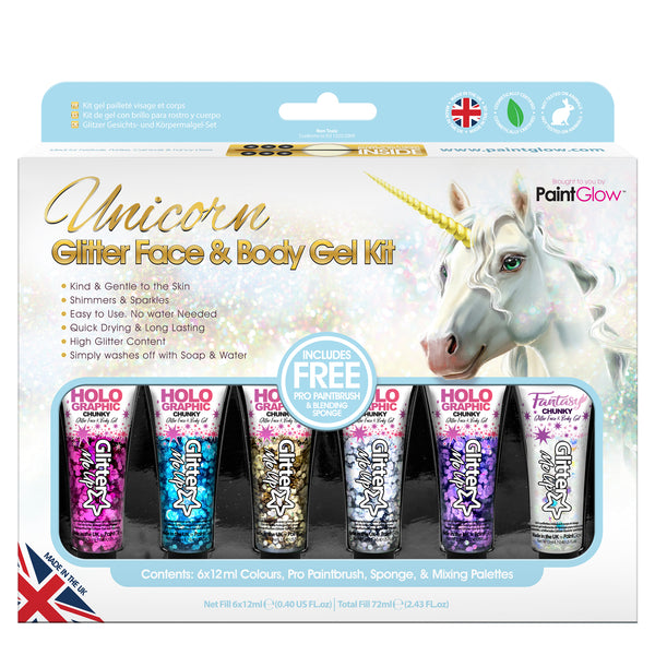 Unicorn Glitter Face and Body Gels Kit