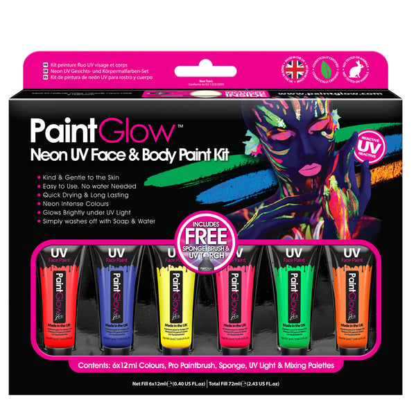 Neon UV Face & Body Paint Kit