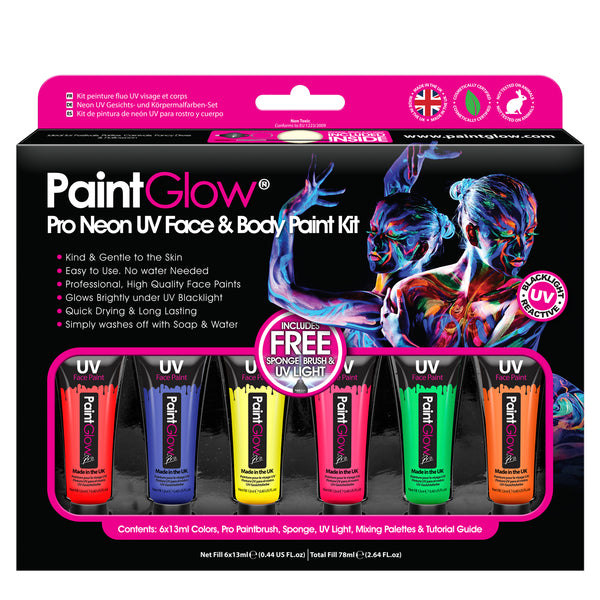 Pro UV Face & Body Paint Kit