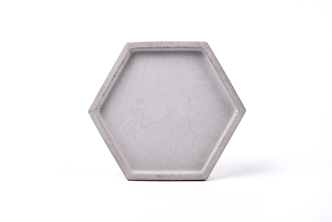 Concrete hexagon tray / accessory holder (small) -