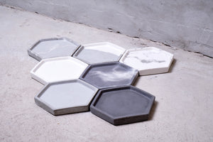 "Concrete hexagon tray / accessory holder (small) - ""thunderstorm"""