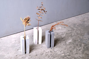 "Concrete vase - square with slot - ""dark grey"""