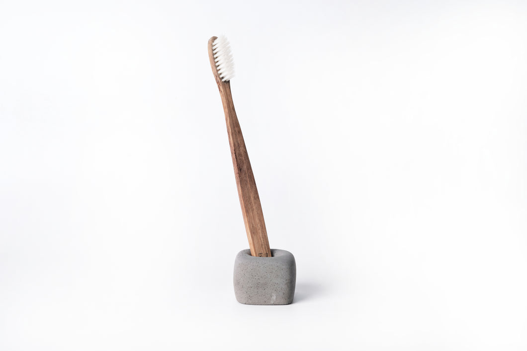 Concrete toothbrush holder -