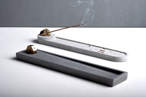 "Concrete incense stick holder with brass (long+round) - ""grey"""