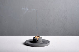 "Concrete incense stick holder with brass (disc) - ""dark grey"""