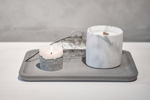 "Concrete candle - ""marble white"""