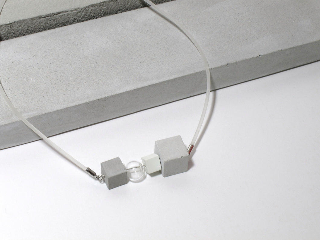 Frosted Collection: Concrete cubes + Glass sphere + Rubber necklace (FC-002)