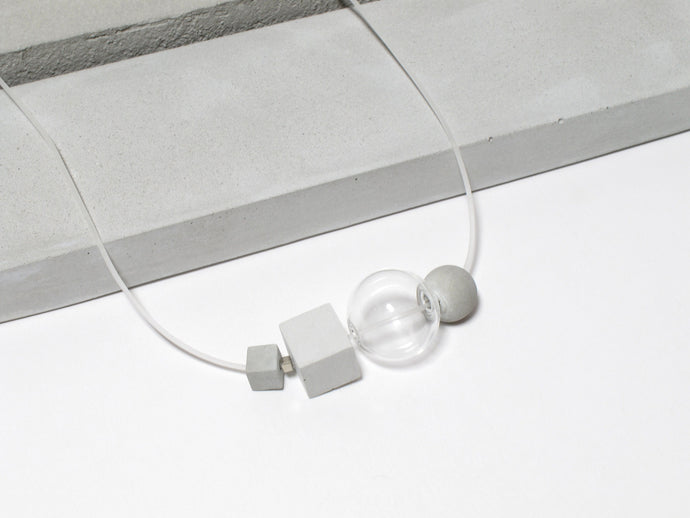 Frosted Collection: Concrete cubes + Concrete sphere + Glass sphere + Rubber necklace (FC-004)