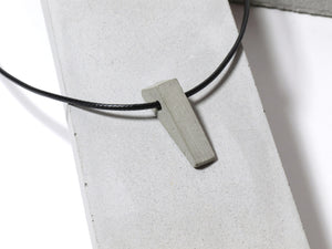 Black nylon necklace with hand sanded & polished concrete pendant (RT-003)