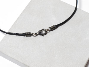 Black nylon necklace with hand sanded & polished concrete pendant (RT-005)