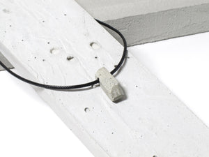 Black nylon necklace with hand sanded & polished concrete pendant (RT-002)