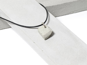 Black nylon necklace with hand sanded & polished concrete pendant (RT-004)