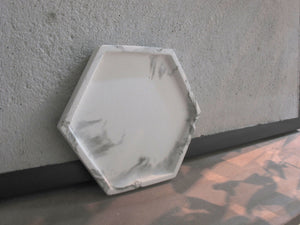 White marble patterned concrete tray / accessory holder in Hexagon shape