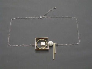 Marble Concrete x Brass Collection - Sterling silver necklace (MCB-005)
