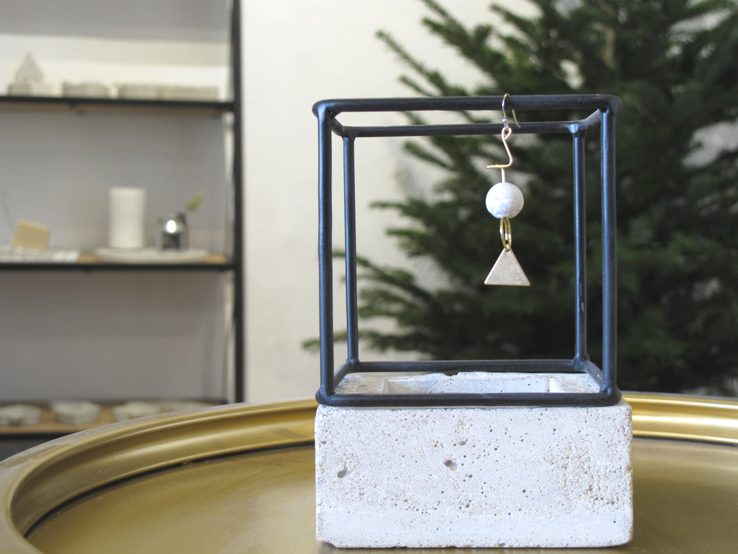 Marble Concrete x Brass Collection: Dangle and Drop Earring with Sterling Silver (MCB-102)