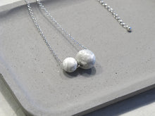 Minimal sterling silver necklace with Marbling concrete beads (Spheres)